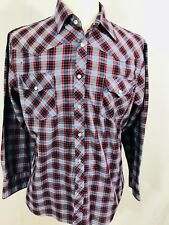New Frontiers By Big Yank Mens Vtg Western Pearl Snap Shirt Large Blue Plaid