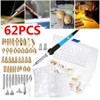 62Pcs 60W Wood Burning Iron Pen Tip Set Pyrography Kit Welding Soldering Craft