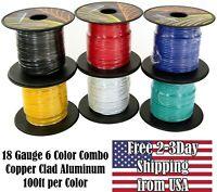 18 Gauge 6 Color Copper Clad CCA 12V Automotive Trailer Hook Up Primary Wire