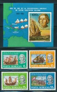 ROMANIA 1992 500th ANNIV.  DISCOVERY OF AMERICA MNH S.S. & SET OF 4