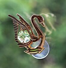 Green Crystal Swan Sun Catcher Swarovski Elements made by Crystocraft