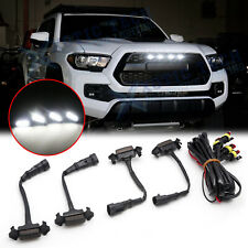 Smoked Lens White LED Front Grille Light For 16-up Toyota Tacoma w/TRD Pro Grill