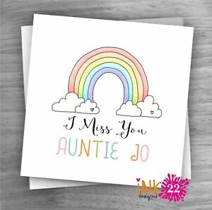 Personalised Rainbow 'Miss You' card Lockdown Friend, Auntie, Sister, Family,