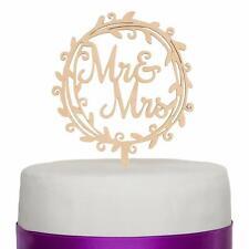 Mr & Mrs Wooden Wreath Wedding Cake Topper Decoration