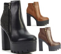 Ladies Womens High Heel Chunky Cleated Platform Chelsea Ankle Boots Shoes Size