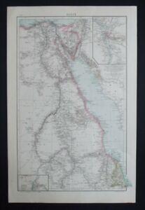 Antique Map: Egypt / Cairo, Khartoum, The Universal Atlas, 1893, Colour