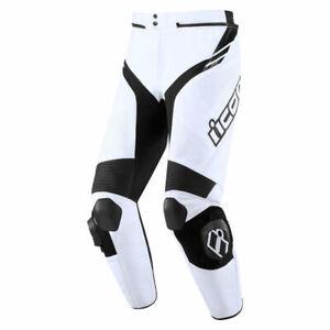 Icon Motosports Hypersport2 Prime CE Leather Riding Pants (White/Black)