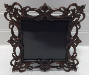 4 X 4 Square Photo Frame Antique Copper Ornate Scrolled Design Free Standing