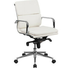 MODERN OFFICE CONFERENCE ROOM CHAIR  White Leather Meeting Boardroom Mid-Back