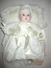 """Vintage Gerber Christening Baby Porcelain Doll 15"""" With Basket & Coa 1981"""