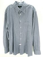 Mens ZANELLA Button Up Shirt Size XXL Blue White Geometric Pattern Made in Italy