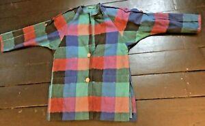 vintage 80's rainbow patchwork boho check oversize spring summer jacket