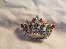 Lovely rhinestone, aurora borealis crown brooch unsigned