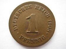 Germany 1908-D 1 Pfennig, GVF.
