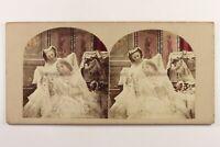 La Sposa Femmes Bellezza c1860 Foto Colorato Alla Mano Stereo Vintage Albumina