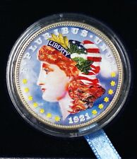 1921-D American Morgan Silver Dollar $1 Beautifully Colorized Coin on Both Sides