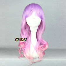 Lolita Light Purple Mixed Pink Ombre Long Wavy Cute Japan Party Cosplay Wig+Cap