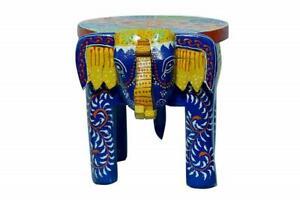 Blue Wooden Stool, Handmade Designer Wooden Elephant Stool, 8 inch