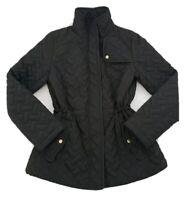 Cole Haan Signature Women's Quilted Jacket Full Zip Adjustable Waist Black SZ Sm