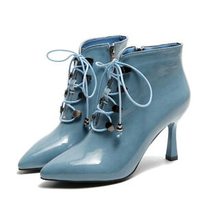 Lady New Fur Lining Zipper Ankle Boots Pointed Toe Lace Up Kitten Heels Oversize