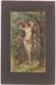 """Friedrich Keck (Munich artist)""""Female Nude in Blooming Garden"""",Watercolor,ca1900"""