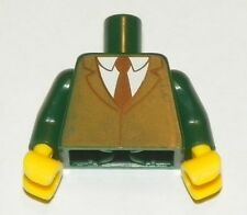 LEGO - Minifig, Torso White Shirt w/ Dark Green Suit Coat & Black Tie