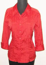 """Fred David Woman Red Spandex Fitted 3/4 Sleeve 42"""" Bust Shirt Blouse"""