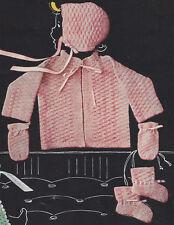 Vintage Knitting PATTERN to make Baby Infant Set Sweater Jacket Hat Booties Mitt