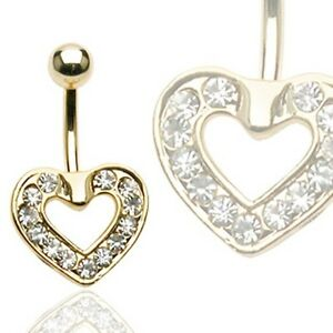 Gold Plated Surgical Steel Belly Bar / Navel Ring With Paved Gem Heart