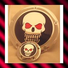 DERBY & CAM COVERS  SKULL WITH RED EYES  HARLEY CHOPPER 5 HOLE TWIN CAM