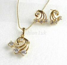 Women New 14K Yellow Gold Plated CZ Cubic Crystal Studs Earrings Necklace Set