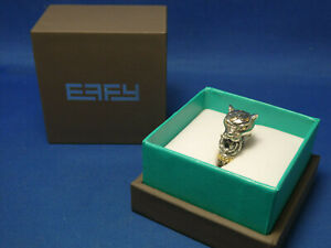 Effy Sterling Silver & 18k Gold 2 Tone Panther Ring New In Box Size 7.5
