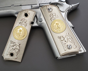 1911 Grips cachas PISTOL GRIPS Full Size 45 Commander Mexican eagle Nickel
