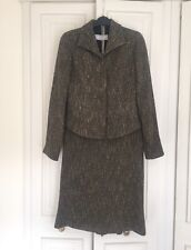 Max Mara Chic Brown Wool Boucle Tweed Suit Blazer Jacket & Skirt Vintage UK 8
