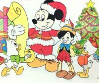 Walt Disney Mickey Pinocchio Vintage Holiday Christmas Postcard Greeting NOS