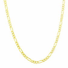 REAL 14K Yellow Gold SOLID 3.5mm Figaro Chain Link Necklace w/ Lobster Clasp 22""
