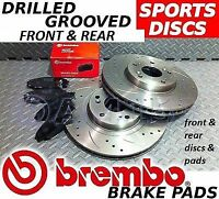VAUXHALL MERIVA TURBO FRONT & REAR Drilled/Grooved Brake Discs & BREMBO Pads