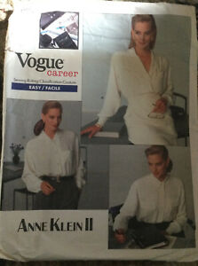 Vogue Career Anne Klein II Loose Fitting Blouse Sewing Pattern  Size 12-14-16