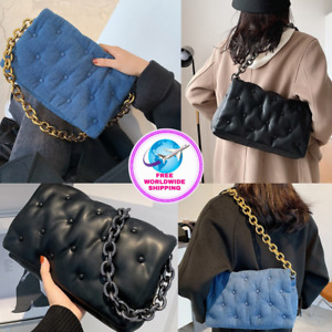 Ladies Luxury Fashionable Shoulder Travel Clutch Handbag With Thick Metal Chain