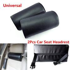 2Pcs Carbon Fiber Embroidery Look Car SUV Rest Cushion Seat Headrest Neck Pillow