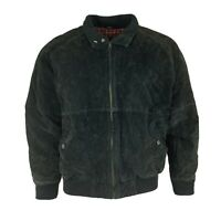 John Ashford Men's Black Suede Leather Bomber Full Zip Jacket  Size M Medium
