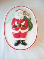 Vintage Christmas Santa Ceramic Mold Hand Painted Kitchen Wall Decor