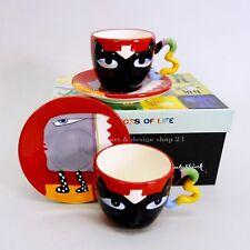 """FRANK SLABBINCK """"Black Cat"""" - Kaffeetassen Teetassen Pop Art Design 2 Set`s NEU!"""