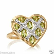 GENUINE PERIDOT GEMSTONE 18K YELLOW GOLD OVER STERLING SILVER HEART RING 5