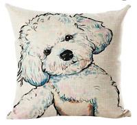 BICHON FRISE Cushion Cover! Watercolour Dog Art Linen Animal Pillow 45cm Gift