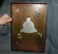 """13,6 """"Xuande Marqué Vieux Chine Cuivre Argent Bouddhisme Plateau De Fruits"""