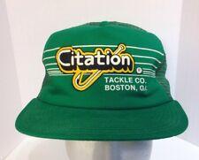 Vintage Citation Tackle Co Boston Ga Fishing Mesh Trucker Snapback Green Hat USA