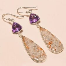 "92.5 Sterling Silver Natural Crazy Lace Agate,Amethyst Cut Earrings 2.75"" Sb-220"