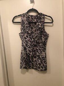 Ann Taylor Animal Print Silk Blouse Size 2