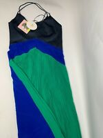 Womens' Cushnie Pleated Dress Blue Green Colorblock Midi size 10